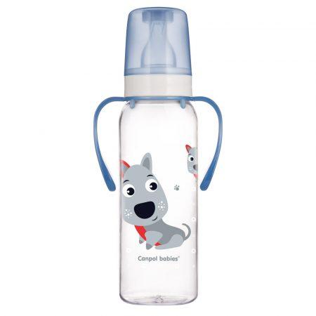 """Canpol babies """"Boldog állatkák"""" cumisüveg fogókkal - 250 ml (BPA 0%)"""