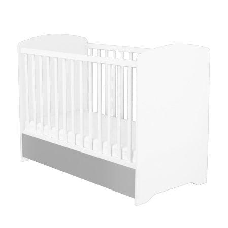 Zárt végű ágyneműtartós gyermekágy Ezüst-Fehér