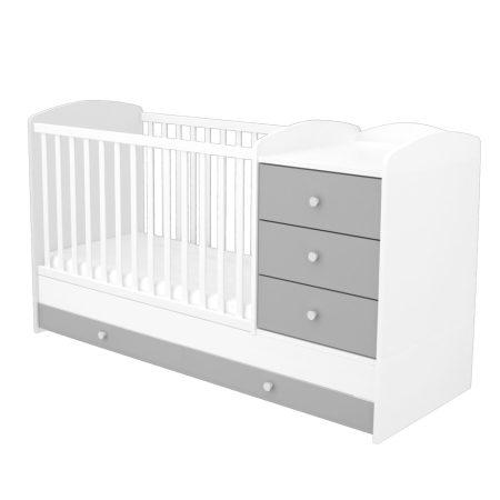 Kombinált 3 fiókos gyermekágy Ezüst-Fehér