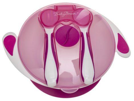 BabyBruin Tapadókorongos tányér tetővel és evőeszközzel