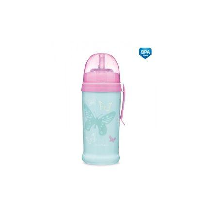 Canpol babies Sport itatópohár nemkifolyó szívószállal 350 ml, 12 h+ Lepkék