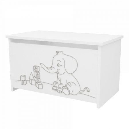 Elefántos játéktároló láda Fehér